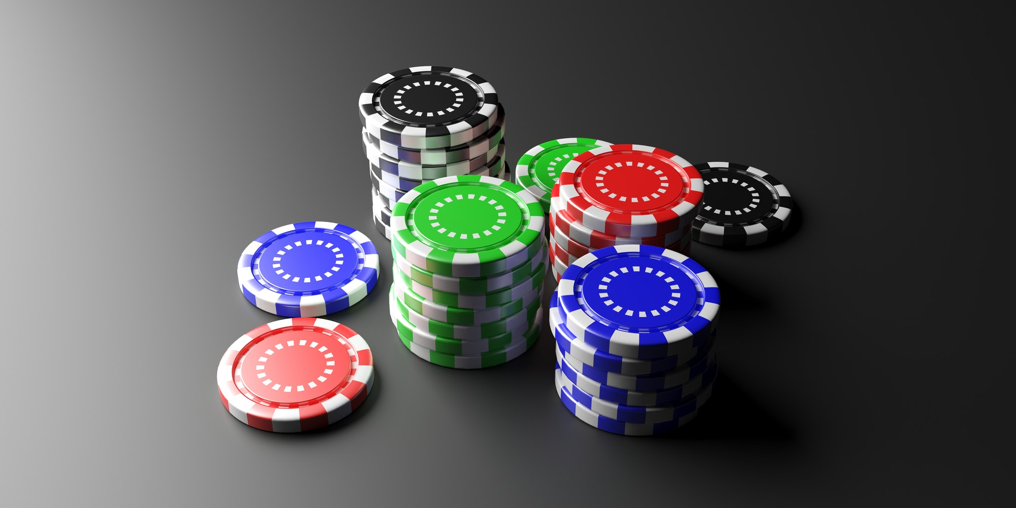 Casino poker chips on black background. 3d illustration